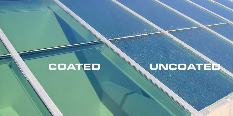 Showing the difference between a glass roof coated with Drywired versus an uncoated one