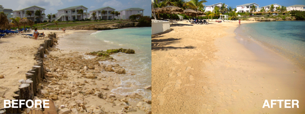 Before and after image of a beach using Shorelock showing shoreline improvement